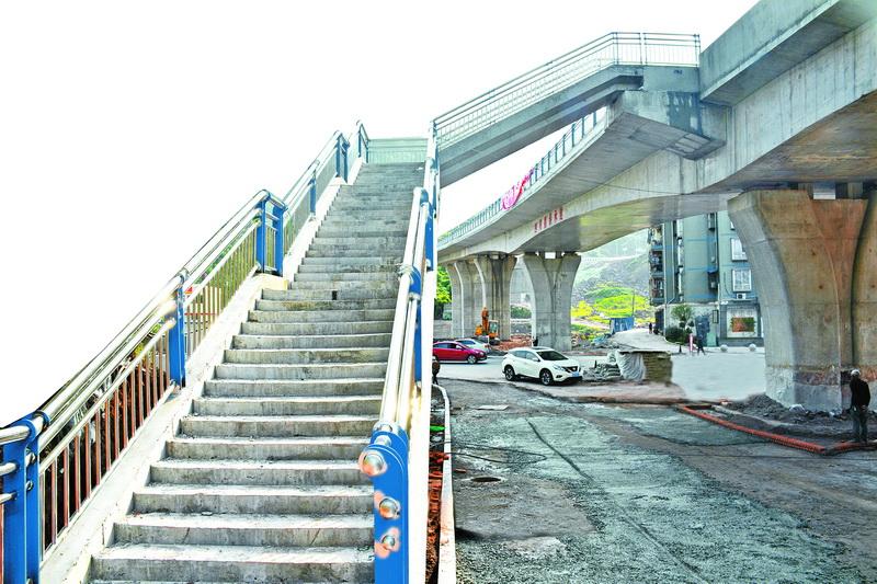 塔石路二号桥人行步梯建成 市民终于可以不用再绕行了