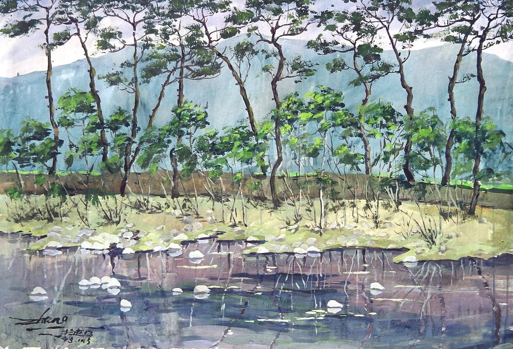 河边的树(水粉画)
