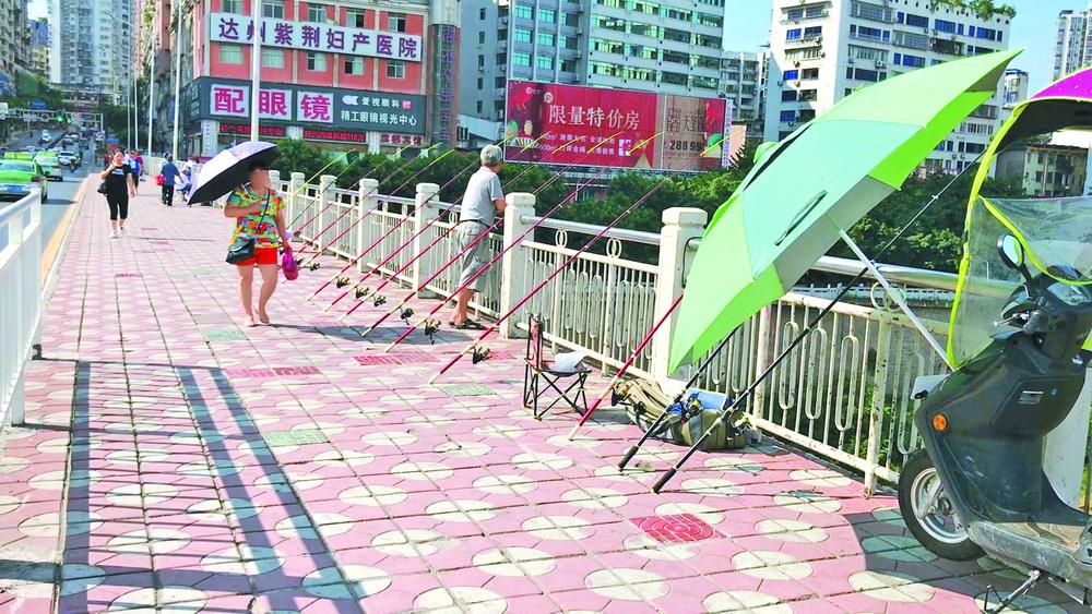 """垂钓者甩竿抛饵!当心,别在通川桥上被""""勾""""伤"""