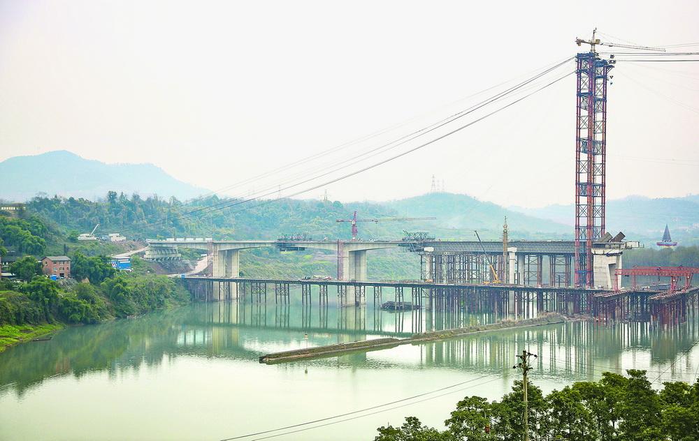 中坝州河大桥缆索吊装系统布置完成