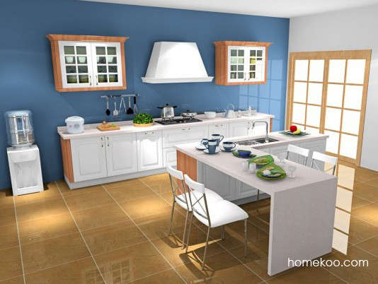 厨房,比较新颖和温馨,下面这款2013最新开放式厨房装修效果图高清图片